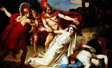 Antígona é surpreendida pelos guardas e levada até o rei